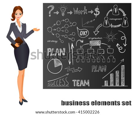 Set of business icons on chalk board. Plan, team work, graph, light bulb, money sign, hand drawn arrows, organization scheme, management system. VECTOR doodle icons and pointing girl.  - stock vector