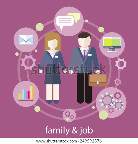 Set of business job icons in flat design around famile. Job family concept. Balance between work and family life - stock vector