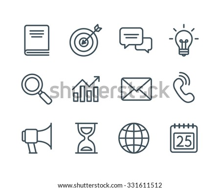 Set of business line icons, simple and clean modern vector style. Business symbols and metaphors in thin outlines with editable stroke. - stock vector