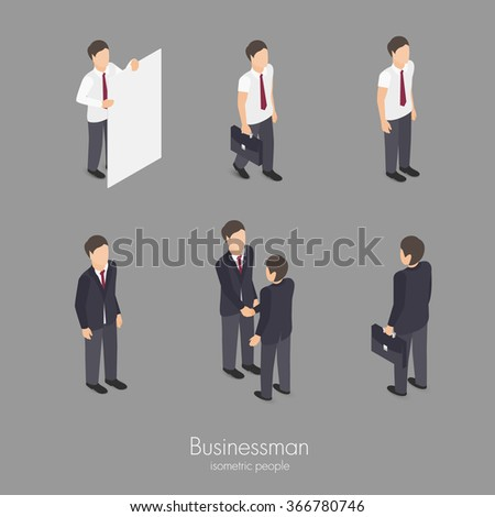 Set of business man professional character vector isometric illustration - stock vector
