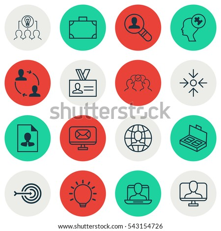 Set Of 16 Business Management Icons. Includes Collaborative Solution, Global Work, Social Profile And Other Symbols. Beautiful Design Elements.
