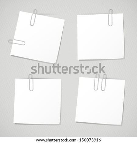 Set of business memo note with clip. Collection of white reminder notes on grey background - stock vector