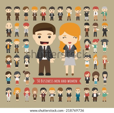 Set of 50 business men and women , eps10 vector format - stock vector