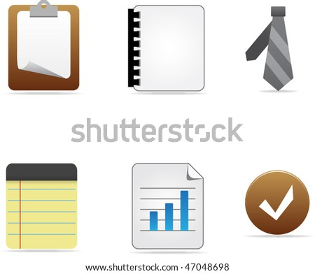 Set of business office items. Vector illustration. - stock vector