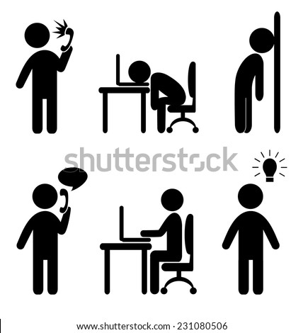 Set of business office situation flat icons isolated on white background - stock vector