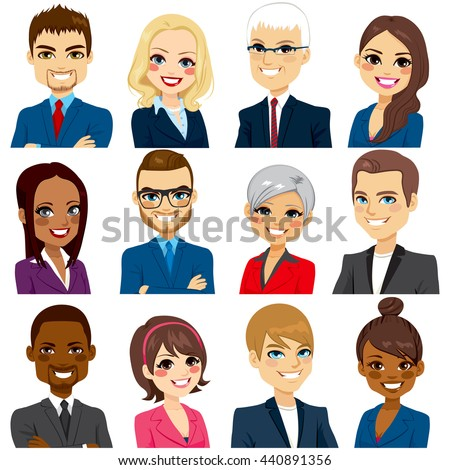 Set of business people avatar collection of workers team - stock vector
