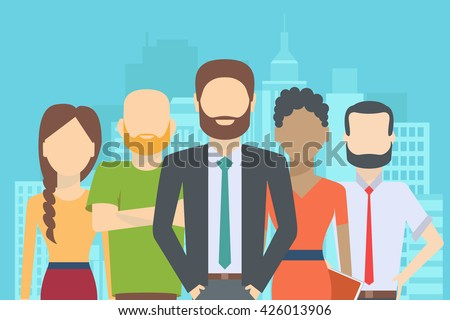 Set of business people, collection of diverse characters in flat cartoon style on the city background, vector illustration