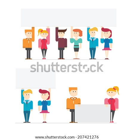 Set of business people hold blank paper or banner for use in presentations, vector illustration - stock vector