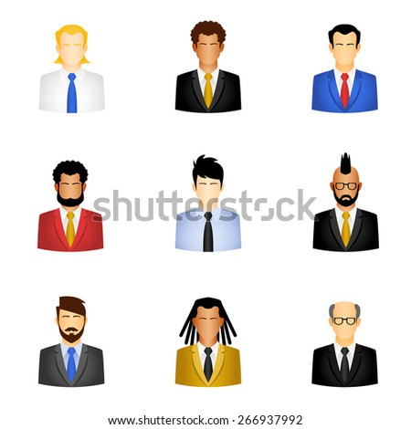 Set of business people icons . people icons - user group network - stock vector