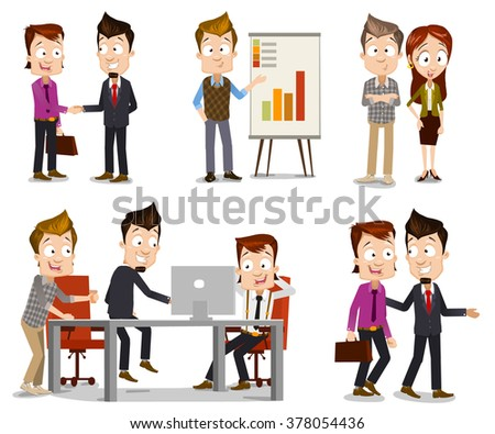 Set of business people illustrations in different scenes including team leader and CO shaking hands, manager presenting analytic, programmer presenting new solution to company leaders, guys walking - stock vector