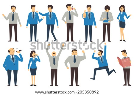 Set of business people in various poses, action and characters, man, woman, senior and junior office person. Design in simple style, isolated on white, and there are more set in my portfolio.  - stock vector