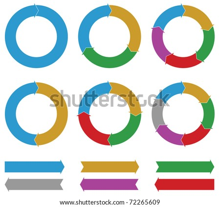 Set of Business process diagrams, circles and arrows - stock vector