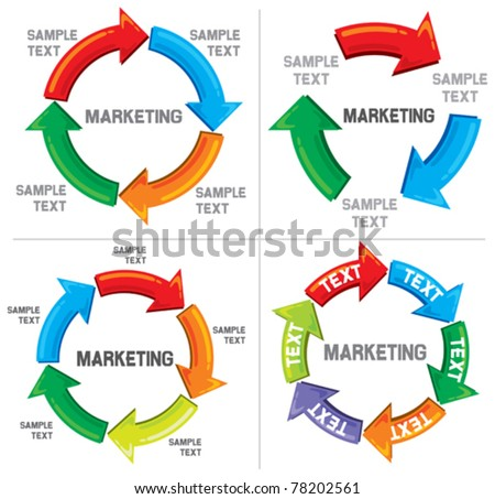 Set of Business process diagrams (graph path) - stock vector