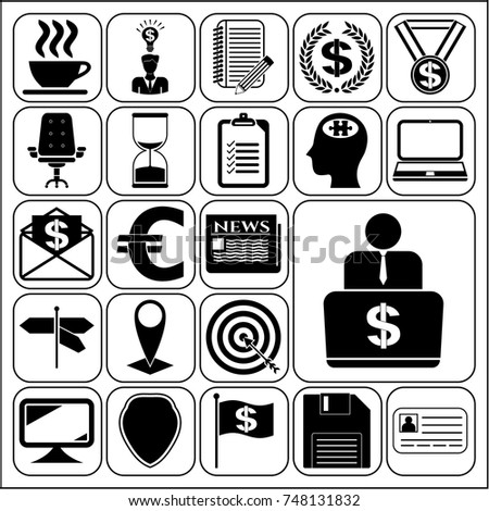 Set 22 business related icons collection stock vector 748131832 set of 22 business related icons collection detailed design vector illustration yadclub Image collections