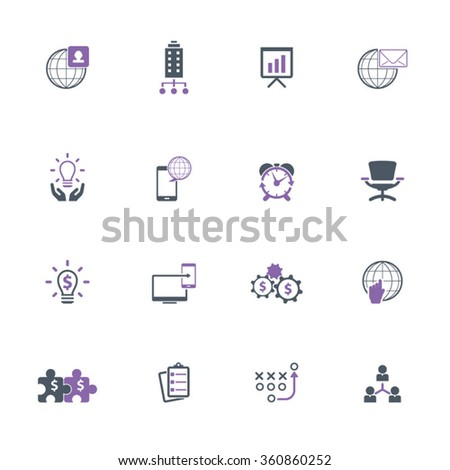 Set of 16 business related icons - purple and gray icon set - stock vector