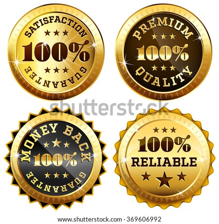 Set of 4 business sealsra in gold and black - 100% satisfaction guarantee, Money back, Premium quality and reliability labels - stock vector