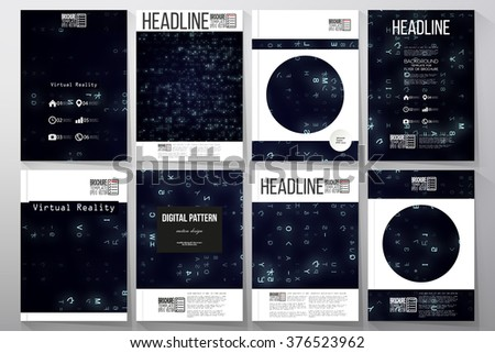 Set of business templates for brochure, flyer or booklet. Virtual reality, abstract technology background with blue symbols, vector illustration. - stock vector