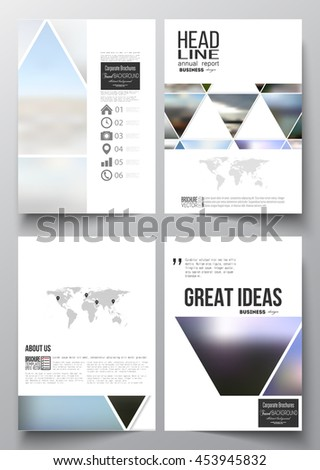 Set of business templates for brochure, magazine, flyer, booklet or annual report. Abstract colorful polygonal background, natural landscapes, geometric, triangular style vector illustration. - stock vector