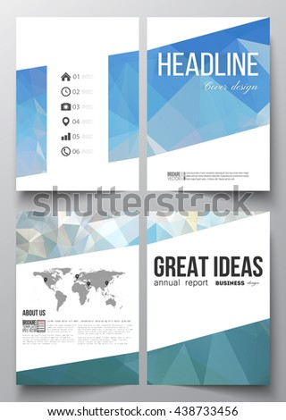 Set of business templates for brochure, magazine, flyer, booklet or annual report. Abstract blue polygonal background, colorful backdrop, modern stylish vector texture. - stock vector