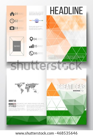 Set of business templates for brochure, magazine, flyer, booklet or annual report. Happy Indian Independence Day celebration background with Ashoka wheel and national flag colors, vector illustration.