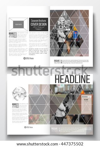 Set of business templates for brochure, magazine, flyer, booklet or annual report. Polygonal background, blurred image, urban landscape, cityscape, modern triangular texture. - stock vector