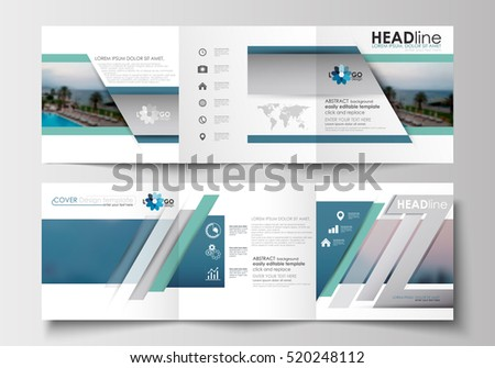 Set Business Templates Trifold Brochures Square Stock Vector