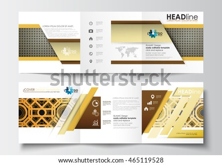 Set business templates trifold brochures square stock for Islamic brochure design