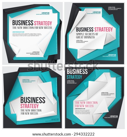 Set of Business vector template. Abstract origami template. - stock vector