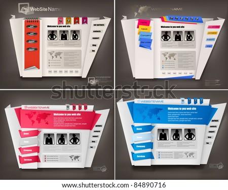Set of business website design templates. Vector illustration. - stock vector