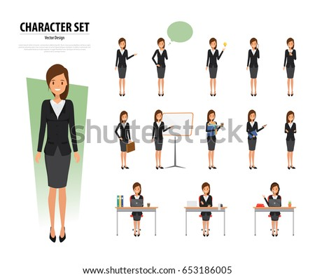 Set business woman character office style stock vector for Character designer job