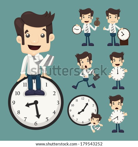 Set of businessman and clock , eps10 vector format - stock vector
