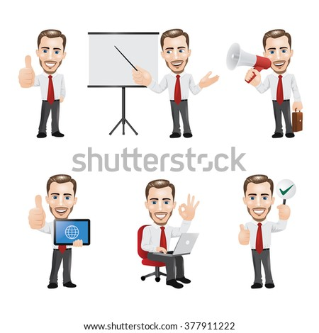 Set of Businessman Character in 6 Different Poses - stock vector