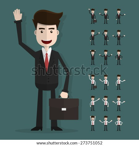 Set of businessman characters poses,Vector EPS10. - stock vector