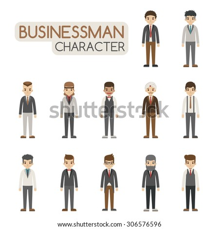 Set of businessman costume characters , eps10 vector format - stock vector
