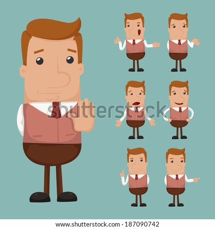 Set of businessman emotion , eps10 vector format - stock vector