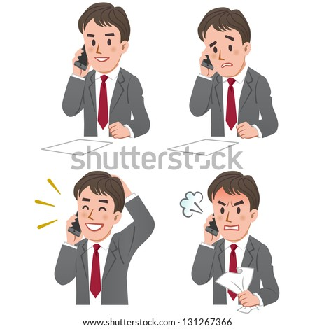 Set of businessman expression talking on the phone. - stock vector