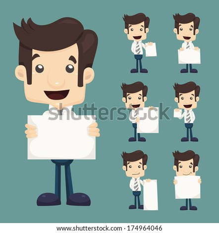 Set of businessman holding blank notes characters poses , eps10 vector format - stock vector