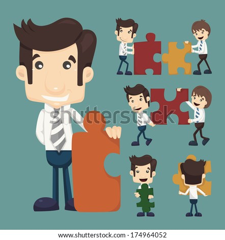 Set of businessman holding up jigsaw puzzle pieces as a solution to a problem , eps10 vector format - stock vector