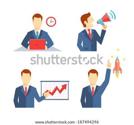 Set of businessman icons depicting a man working at his desk to a deadline  public speaking on a megaphone  doing a presentation and his career taking off like a rocket or an inspirational idea - stock vector