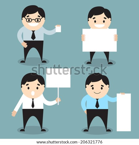 Set of businessman icons with blank paper and banner. Vector illustration. Flat design - stock vector