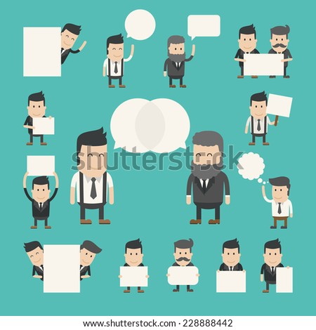 Set of businessman in conversation , discuss , debate , eps10 vector format - stock vector