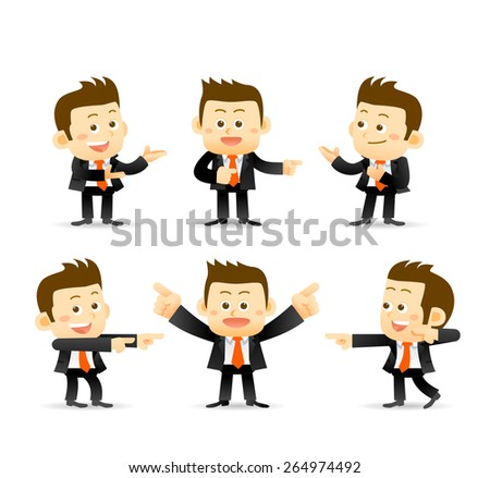 set of businessman in different poses. manager. - stock vector
