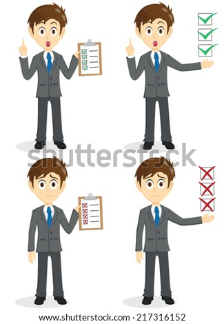 Set Of Businessman Show Checklist With Clipboard - stock vector