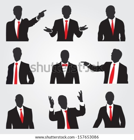 Set of businessman silhouettes in different situations  - stock vector