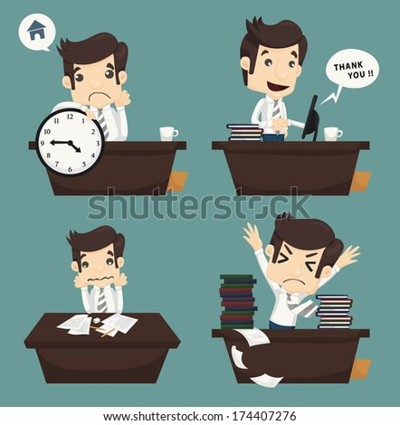 Set of businessman sitting on desk , office worker , eps10 vector format - stock vector