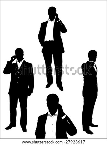 set of businessman using a mobile phone - stock vector