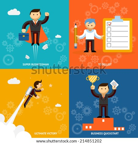 Set of businessman vector cartoon characters depicting a super businessman  . to do list  jet propelled ultimate victory and an achievement  quickstart or award - stock vector