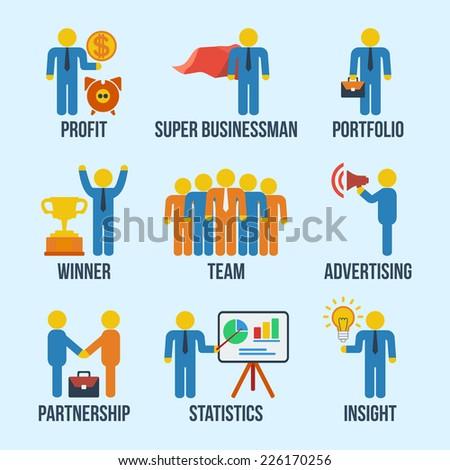 Set of 9 businessman web and mobile icons in flat design. Profit, super businessman, portfolio, winner, team, advertising, partnership, statistics, insight concept symbols. - stock vector
