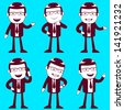 set of businessmen in different position - stock vector