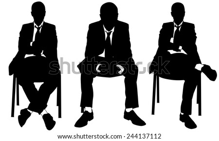 set of businessmen sitting on chairs - stock vector